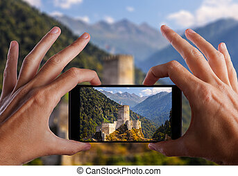 pavo, ciudad, smartphone, foto, viaje, istanbul., mano,...