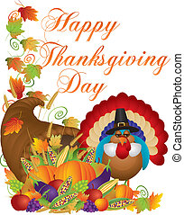 pavo, cornucopia, acción de gracias, ilustración, día, feliz