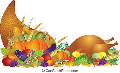 pavo, cornucopia, banquete, acción de gracias, ilustración, ...