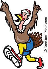 pavo, corredor, corra, caricatura, aislado