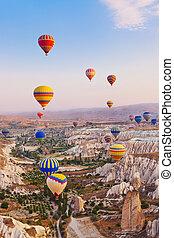 pavo, encima, vuelo, aire, caliente, cappadocia, globo