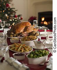 pavo, extensión, asado de christmas