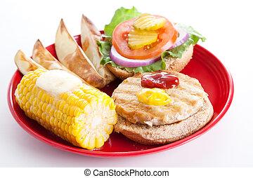 pavo, hamburguesa, -, revestida, abierto