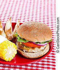 pavo, hamburguesa, sabroso