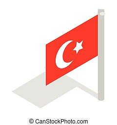pavo, isométrico, estilo, bandera, icono, 3d