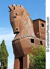 pavo, localizado, trojan, troy, caballo