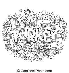 pavo, mano, letras, y, doodles, elementos, plano de fondo