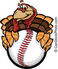 pavo, pelota, imagen, acción de gracias, caricatura, vector, beisball, tenencia, sofbol, feriado, o, feliz