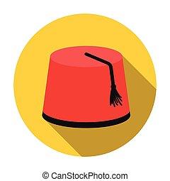 pavo, plano, estilo, illustration., símbolo, aislado,...