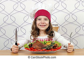 pavo, poco, grande, tabla, cocinero, pata de pollo, niña