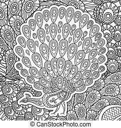 pavo real, colorido, adultos, página