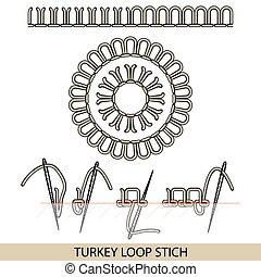 pavo, stitches., costura, bordado, hilo, costura, colección...