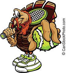 pavo, tenis, acción de gracias, ilustración, vector, feriado, caricatura