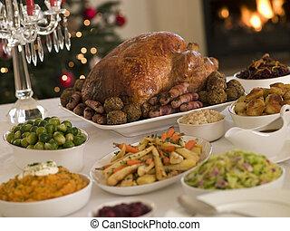 pavo, todos, asado de christmas, recortes