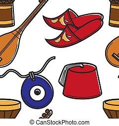 pavo, turco, patrón, viaje, seamless, símbolos, turismo