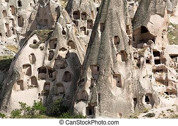 pavo, uchisar, cappadocia, castillo, vista