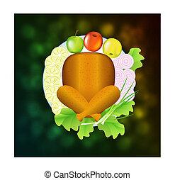 pavo, vegetales, fruta, plato.