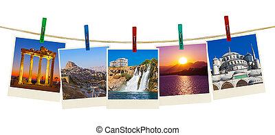 pavo, viaje, fotografía, en, clothespins
