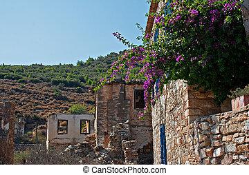 pavo, viejo, abandonado, doganbey, greek/turkish, aldea