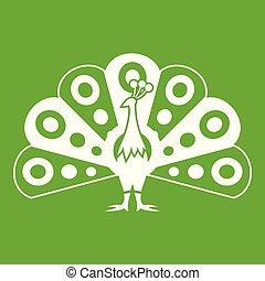 pavone, coda, icona, verde, fluente