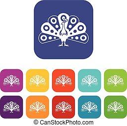 pavone, coda, set, fluente, icone