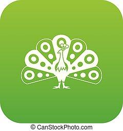 pavone, fluente, coda, verde, digitale, icona