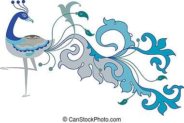 pavone, mano, artistico, disegnato