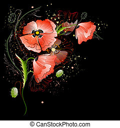 pavot, fleurs, rouge noir, fond