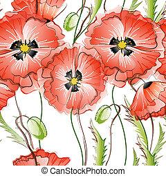 pavot, fleurs, seamless, fond, rouges