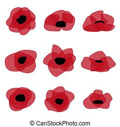 pavot rouge, plat, icon., stylisé, fleur, symbole.