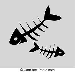 pavučina, ilustrace, fishbone, firma, vektor, ikona