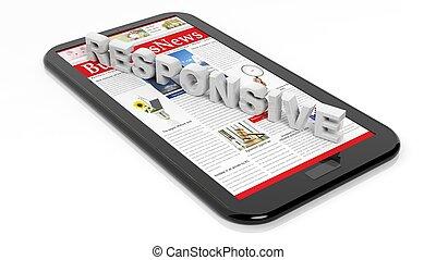pavučina, tabulka, concept., osamocený, /, design, white., citlivý, smartphone