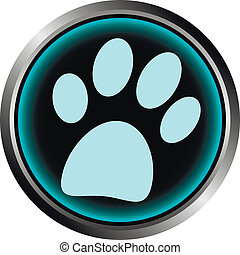 Paw button on white background - vector