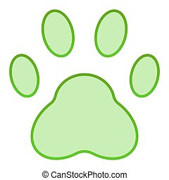 Paw flat icon. Pad green icons in trendy flat style. Foot gradient style design, designed for web and app. Eps 10.