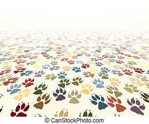 Paw floor - Editable vector illustration of dog paw prints