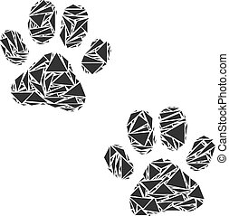Paw Footprints Collage of Triangles