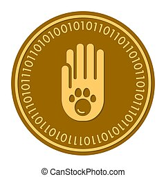 Paw Footprints golden digital coin icon. Vector style. gold yellow flat coin cryptocurrency symbol. solated on white. eps 10
