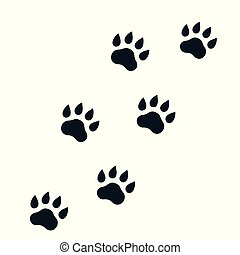 paw footprints on white, vector