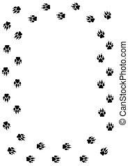 Paw frame - Frame made of dog/mammal paw prints