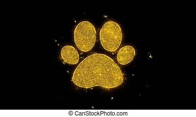 Paw Icon Icon Sparks Glitter Particles on Black Background. Shape, Design, Text, Element, Symbol Alpha Channel 4K Loop.