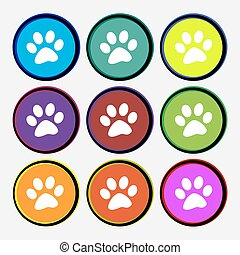 paw icon sign. Nine multi colored round buttons. Vector