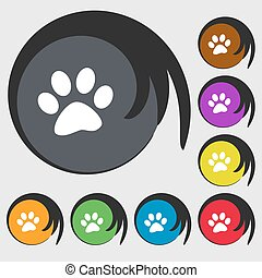 paw icon sign. Symbols on eight colored buttons. Vector