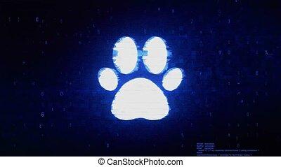 Paw Icon Symbol Digital Pixel Noise Error Animation.