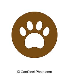 Paw icon vector in circle. Filled flat sign isolated on white. Pet supplies symbol. Vector logo illustration