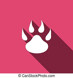 Paw icon with long shadow. Vector illustration