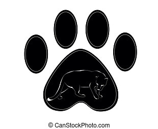 paw of panther - black paw of panther n withe background