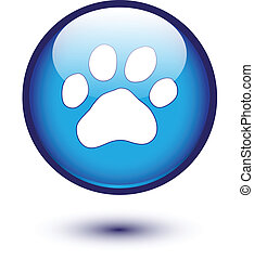 Paw on blue glossy button
