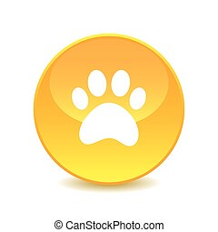paw , paw icon on the background , vector