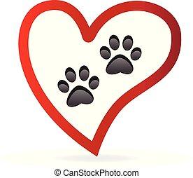 Paw pet inside of love heart logo