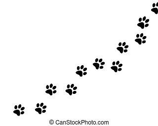 Black paw prints on white background